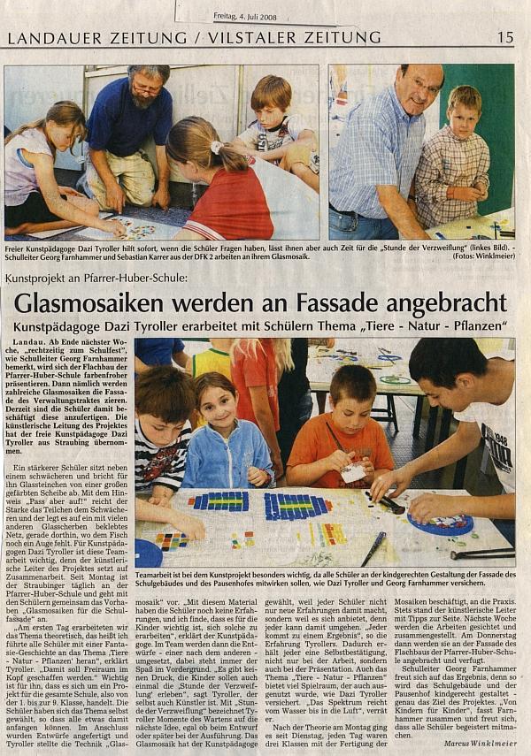 Kunstprojekt an Pfarrer-Huber-Schule