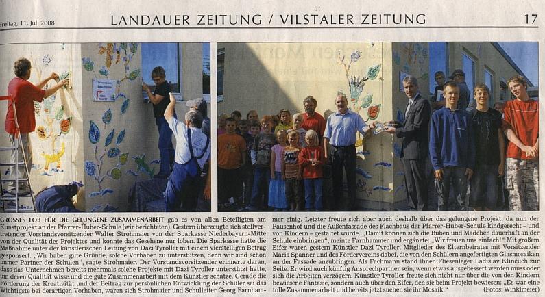 Lob für Kunstprojekt an Pfarrer-Huber-Schule